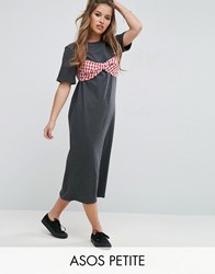 Asos Petite Maxi T Shirt Dress With Bra Top Charcoal Marl Grey