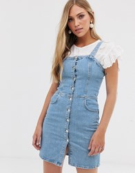 Mango Button Front Denim Dress In Light Blue