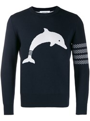Thom Browne Navy Dolphin Icon Crewneck Pullover 60