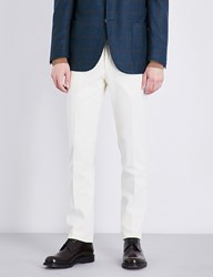 Corneliani Slim Fit Tapered Cotton Trousers Off White