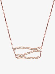 Michael Kors Pave Rose Gold Tone Wave Pendant Necklace