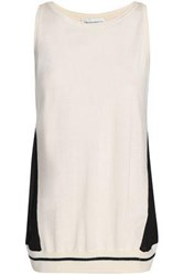 Amanda Wakeley Ray Voile Paneled Silk Wool And Cashmere Blend Top Ecru