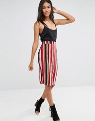 Glamorous Stripe Midi Skirt Red Orange Stripe