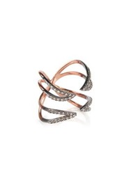 Katie Rowland Studded Twisted Cross Ring Rose Gold
