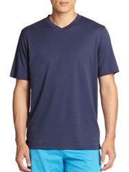 Saks Fifth Avenue V Neck Tee White Navy Black