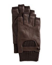 John Varvatos Wool Lined Leather Fingerless Gloves Chocolate