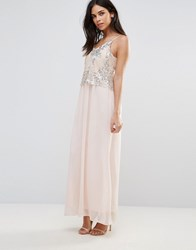 Club L Maxi Dress With Sequin Overlay Nude Silver Pink