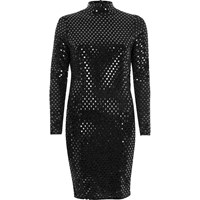 River Island Womens Metallic Black Turtleneck Mini Dress