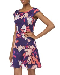 Ali Ro Cap Sleeve Floral Print Fit And Flare Chiffon Dress Dk Violet