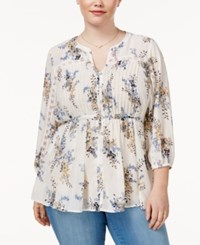 American Rag Trendy Plus Size Tie Waist Peasant Blouse Only At Macy's Egret Combo