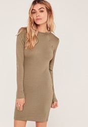 Missguided Khaki Ribbed Button Up Shoulder Bodycon Dress