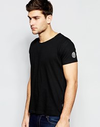 Replay T Shirt Wide Neck Laser Cut In Washed Black Washedblack