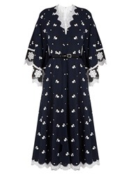 Andrew Gn Floral Embroidered Silk And Cotton Blend Dress Blue