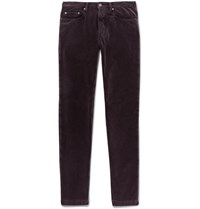 Massimo Alba Alunga Cotton Velvet Trousers Burgundy