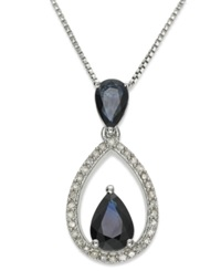Macy's Sterling Silver Necklace Sapphire 1 1 3 Ct. T.W. And Diamond 1 8 Ct. T.W. Drop Pendant