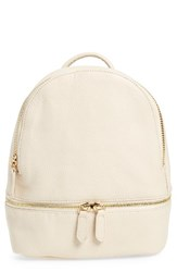 Girly Faux Leather Mini Zip Backpack White Ivory