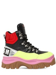 Msgm 40Mm Faux Leather High Top Sneakers Black Yellow
