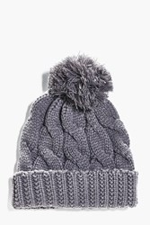 Boohoo Knit Bobble Beanie Grey