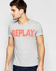 Replay T Shirt Crew Neck Logo Print In Gray Melange Gray Melange