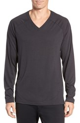Alo Yoga Triumph Long Raglan Sleeve V Neck T Shirt Solid Dark Grey Triblend