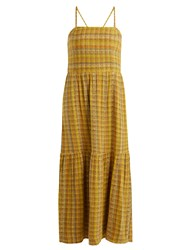 Ace And Jig Dusty Striped Cotton Blend Dress Yellow
