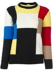 Peter Jensen Patchwork Cable Knit Jumper Multicolour