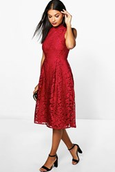 Boohoo Embroidered High Neck Midi Skater Dress Berry