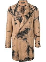 Di Liborio Printed Double Breasted Coat Nude And Neutrals