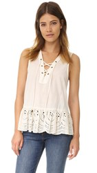 Maven West Kayla Lace Up Peplum Top Cream