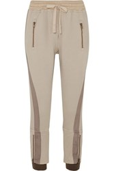 Haider Ackermann Cropped Paneled Cotton Jersey Tapered Track Pants Beige