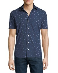 Culturata Abstract Print Short Sleeve Sport Shirt Navy