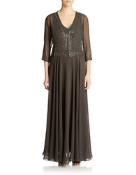 J Kara Beaded V Neck Gown And Jacket Slate Mercury