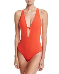 Jets By Jessika Allen Illuminate Plunge Neck One Piece Swimsuit Red