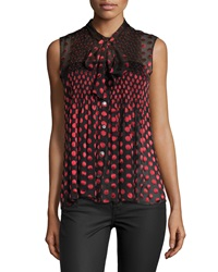 Diane Von Furstenberg Aidan Sleeveless Polka Dot Top Red Black