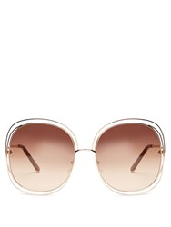 Chloe Modified Oversized Square Frame Sunglasses Rose Gold