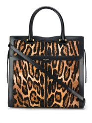 Saint Laurent Leopard Print Textured Tote Brown