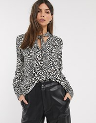 Esprit Animal Print Pussy Bow Blouse In Black And White