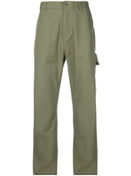 Helmut Lang Cropped Army Trousers Green