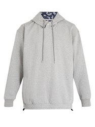 Wooyoungmi Paisley Print Lined Cotton Hooded Sweater Grey