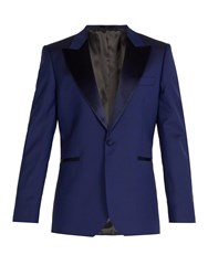 Paul Smith Satin Lapel Wool Tuxedo Jacket Blue