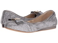 Cole Haan Tali Bow Ballet Silver Gunmetal Glitter Women's Slip On Shoes Silver Gunmetal Glitter