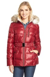 Women's Laundry By Design Belted Quilted Jacket With Faux Fur