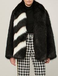 Off White C O Virgil Abloh Striped Faux Fur Coat Black Nocolor