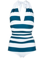 Dolce And Gabbana Striped Swimsuit Blue