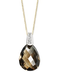 Macy's 14K Gold Necklace Smokey Quartz 4 3 4 Ct. T.W. And Diamond Accent Brio Drop Pendant Brown