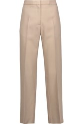 Rochas Cropped Wool Canvas Straight Leg Pants Sand