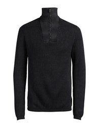 Jack And Jones Jorarnold Half Zip High Neck Sweater Black