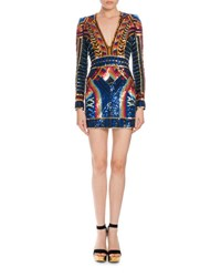 Balmain Geometric Sequin Embellished Mini Dress Multi Multi Colors