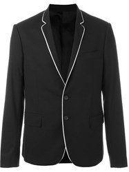 Les Hommes Piped Trim Blazer Black