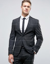Selected Homme Super Skinny Suit Jacket In Grid Check Charcoal Grey